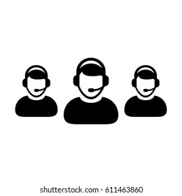 Customer Service Icon - Call Center Operator Wearing Headphone Avatar in Glyph Vector illustration