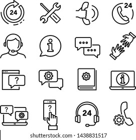 Customer service icons set, can be used to illustrate ordering products through e-shop, customer helpline service, solving problems, returning products etc.