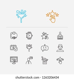 Customer service icons set. Client and customer service icons with bot, online and face. Set of mechanical for web app logo UI design.