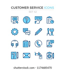 Customer service icons. Vector line icons set. Premium quality. Simple thin line design. Modern outline symbols, pictograms.
