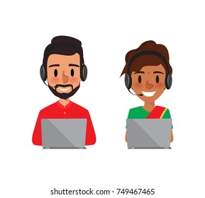 Customer service of indian man and woman. illustration vector of indian call center people.