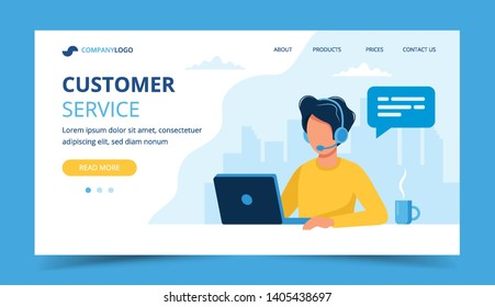 Customer service landing page. Man with headphones and microphone with laptop. Concept illustration for support, assistance, call center. Vector illustration in flat style