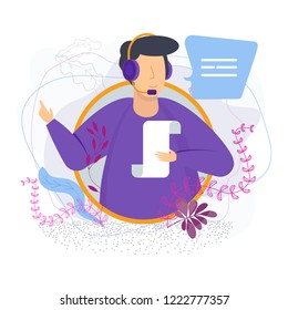 Customer service operator vector concept. Online and offline customer assistance. A man in a headset with a microphone sends a voice message. Support and maintenance, increase loyalty.