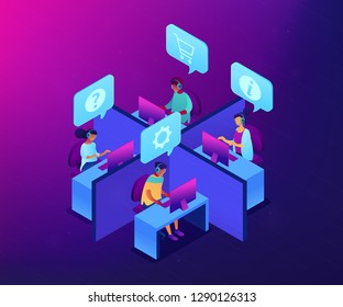 Customer service operators wearing headsets answering phones in the office. Call center, handling call system, virtual call center concept. Ultraviolet neon vector isometric 3D illustration.