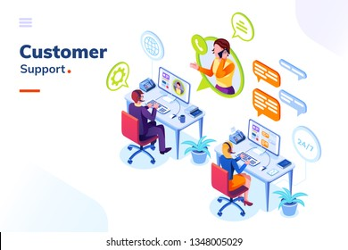 Customer service people office or isometric call center room. Man support and woman phone assistant, Operator with headset doing live feedback. Online user or client support centre. Work, job, hotline