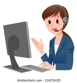 Customer service representative  at computer in headset. isolated on white. Cartoon phone operator. Cartoon Phone Operator. Support center. Customer support.