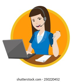 Customer service representative helping customer by using computer and headset on