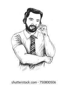 Customer service representative wearing a headset, Hand Drawn Sketch Vector illustration.