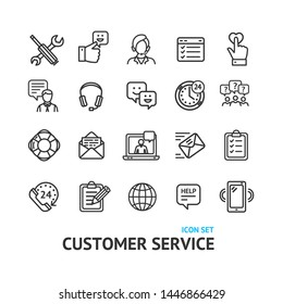 Customer Service Signs Black Thin Line Icon Set Include of Headset, Person and Mobile. Vector illustration of Icons