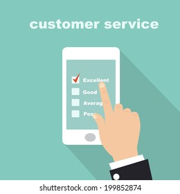 customer service survey form on screen mobile
