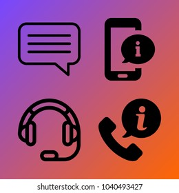 Customer Service vector icon set consisting of 4 icons about headphone, telephone, call center, info, phone, smartphone, information, chat and headset