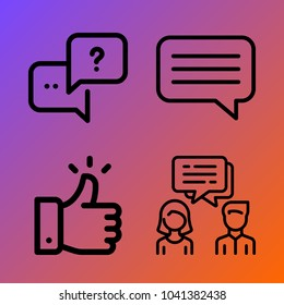 Customer Service vector icon set consisting of 4 icons about like, chat, dialogue, question and conversation