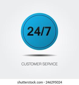 Customer service vector illustration. Blue logo. Online consultation