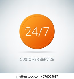 Customer service vector illustration. Orange logo. Online consultation