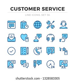 Customer service vector line icons set. Thin line design. Modern outline graphic elements, simple stroke symbols. Customer service icons