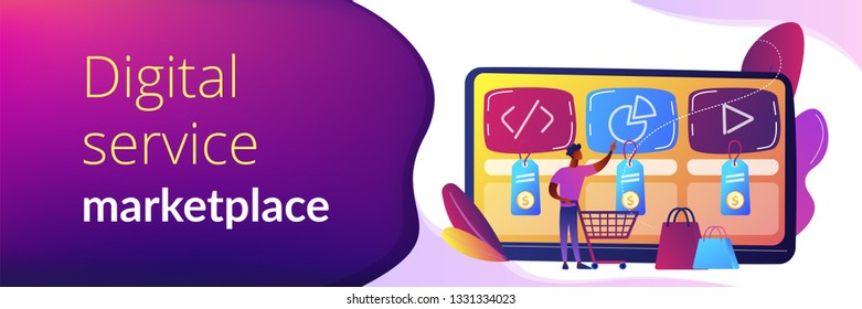 Customer with shopping cart buying digital service online. Digital service marketplace, ready digital solution, online marketplace framework concept. Header or footer banner template with copy space.