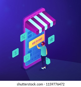 Customer shopping with mobile phone and add to cart note. Internet shop, e-commerce and online marketing, online purchase website concept. Blue violet background. Vector 3d isometric illustration.