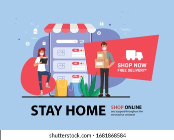 Customer shopping online during covid-19. Stay at home avoid spreading the coronavirus.