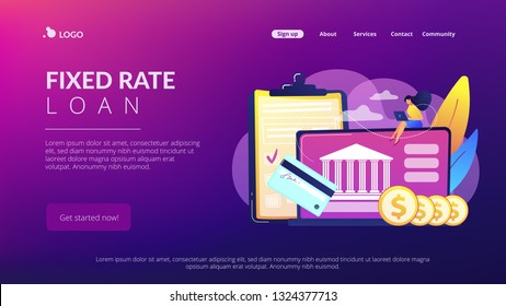 Customer sitting with laptop and bank with credit card and financial savings. Personal bank account, savings bank deposit, fixed rate loan concept. Website vibrant violet landing web page template.