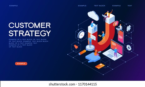 Customer strategy, customer support and service 3d isometric vector illustration. Banner with icons.