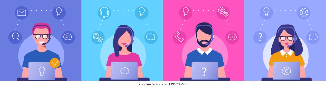 Customer support concept. Can use for web banner, infographics, hero images. Flat vector illustration isolated on white background.