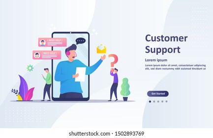 Customer Support concept design, Operator with headset doing live feedback, hotline operator advises client, Suitable for web landing page, ui, mobile app, banner template. Vector Illustration