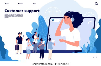 Customer support concept. Professionals help client with smartphone. Telemarketing communications vector landing page. Illustration of professional operator support, communication help