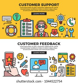 Customer support, customer feedback web banners set. Line art concepts. Creative modern flat design outline graphic elements, line icons, linear symbols, templates. Vector illustration