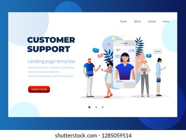 Customer support, female hotline operator advises client, online global technical support 24/7, customers and operator, solving problem, mobile. Landing page template, ui, web, mobile app, poster