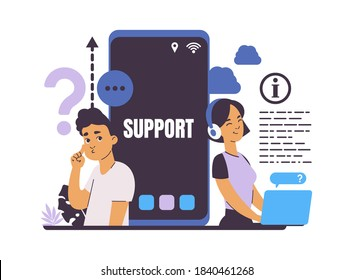 Customer support. Frequently asked questions. Online service for help users, hotline call and chat. Cartoon young people and smartphone screen. Vector electronics seller and buyer feedback concept
