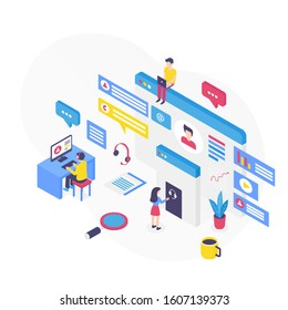 Customer support isometric vector illustration. Digital platform for technical assistance. Callcenter and telemarket. Online corporate marketing. Hotline services cartoon conceptual design element