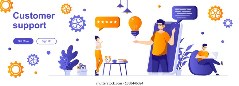 Customer support landing page with people characters. Online customer assistance service web banner. Call center operator vector illustration. Flat concept great for social media promotional materials