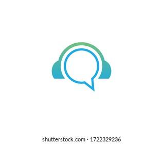 Customer support logo headphones vector