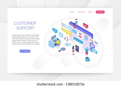 Customer support, online technical consumer assistance, technical service concept 3d isometric infographics vector illustration. People interacting with virtual screen charts.