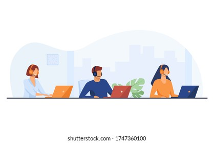 Customer support representatives working in call center. People in headset working at laptop in office flat vector illustration. Support service concept for banner, website design or landing web page