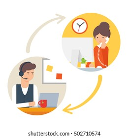 Customer support service, call centre. Vector illustration