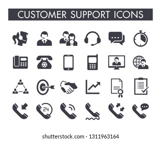 Customer support service icon set
