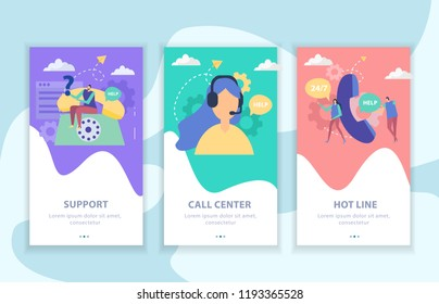 Customer support set of vertical flat banners call center and hot line isolated vector illustration