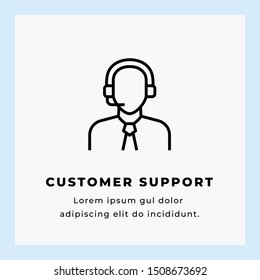 Customer Support Vector Illustration Icon Design on Blue Background