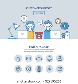 Customer support website hero image concept. One page website design with flat thin line icons.
