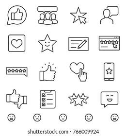 Customer testimonials icons set. linear style. Testimonials, evaluation and feedback of a social network user. Line with editable stroke