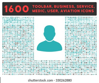 Customer vector icon and 1600 other business, service tools, medical care, software toolbar, web interface pictograms. Style is bicolor flat symbols, grey and cyan colors, rounded angles, white