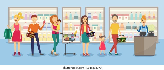 Customers in big queue at cash desk with female cashier at groceries store with shelves - flat vector illustration of male and female cartoon characters with shopping baskets in line at supermarket.