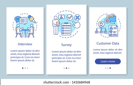 Customers profile methods onboarding mobile app page screen with linear concepts. Interview, survey, customer data walkthrough steps, instructions. UX, UI, GUI vector template with illustrations