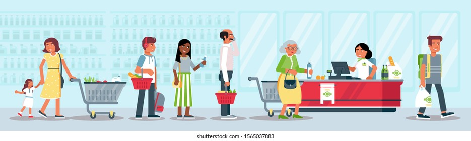 Customers in queue flat vector illustration. Buyers in grocery store at cash desk with cashier cartoon characters. Consumers in supermarket buying goods. Market shopping. People doing purchases