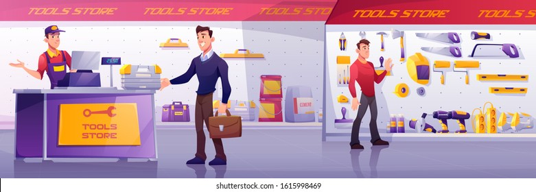 Customers and salesman in tool store. Man buy toolbox at counter. Vector cartoon illustration of shop interior with electric hardware, hand construction instruments and materials on shelves
