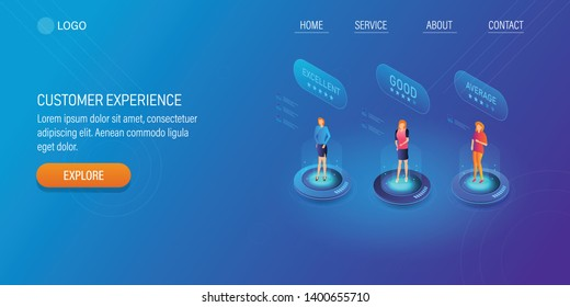 Customers sharing experience, Feedback from customers, Digital review and rating, 3D, isometric creative vector landing page with texts