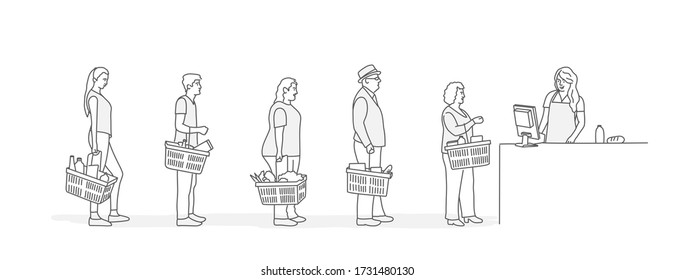 Customers stand in line at grocery or supermarket. Put buys on cashier desk for paying. Line drawing vector illustration.