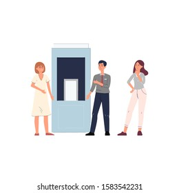Customers and vendor demonstrating product near exhibition stand cartoon flat vector illustration isolated on white background. Industrial or household goods exposition.