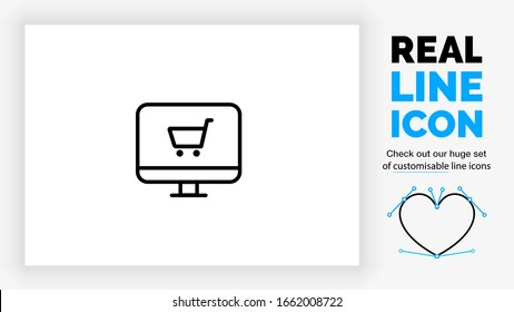 customisable real line icon of a desktop computer with a browser and a shopping cart for online sales in a webshop with black rounded lines on a white background